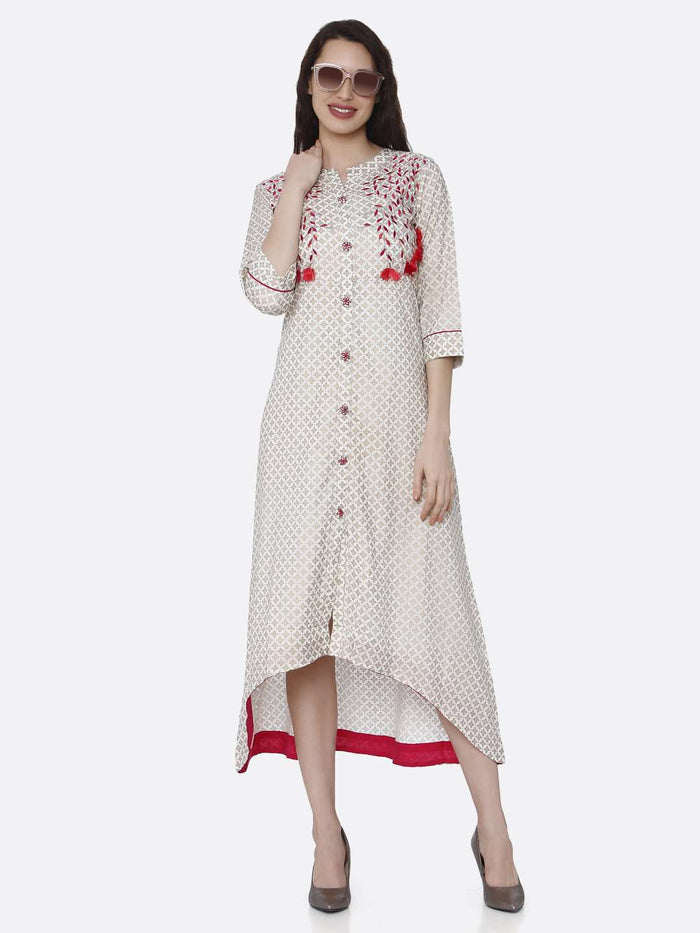 Front Side Casual embroidered Long Handloo Kurti With Off White Color