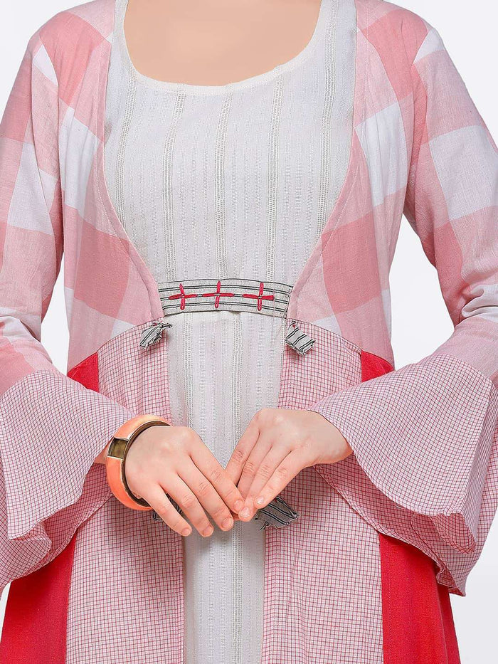 Off-white Maxi Dress with Pink Checkered Flared Cape