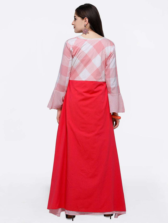 Back Side Off-white Maxi Dress with Pink Checkered Flared Cape