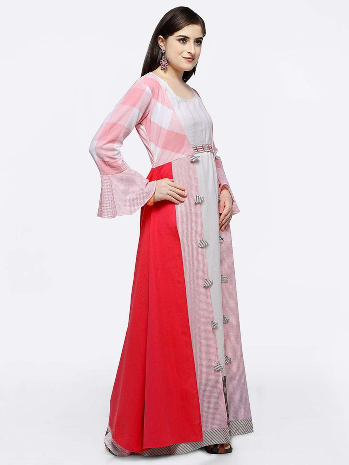 Right Side Off-white Maxi Dress with Pink Checkered Flared Cape