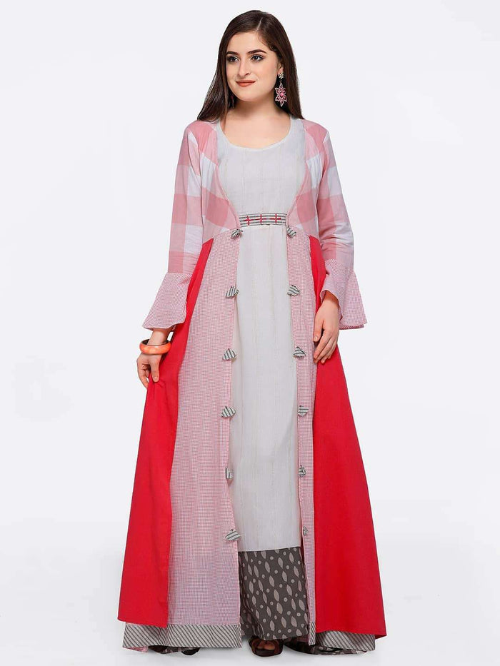 Front Side Maxi Dress With Pink Checkered Flared Cape With Off White Color