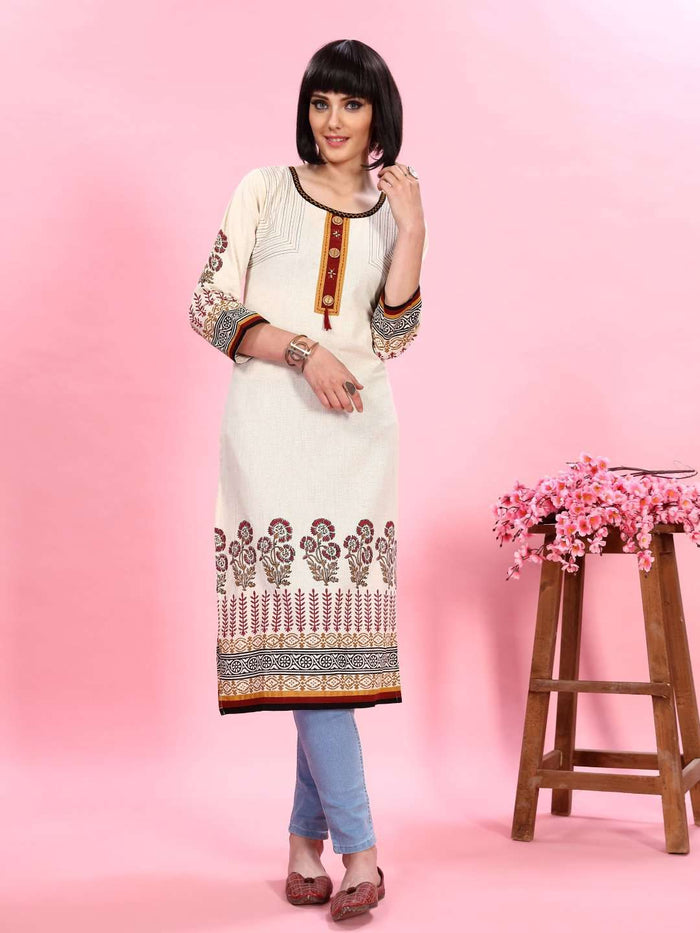 Front Side Off-white Printed Rayon Kurti With Jeans Pant