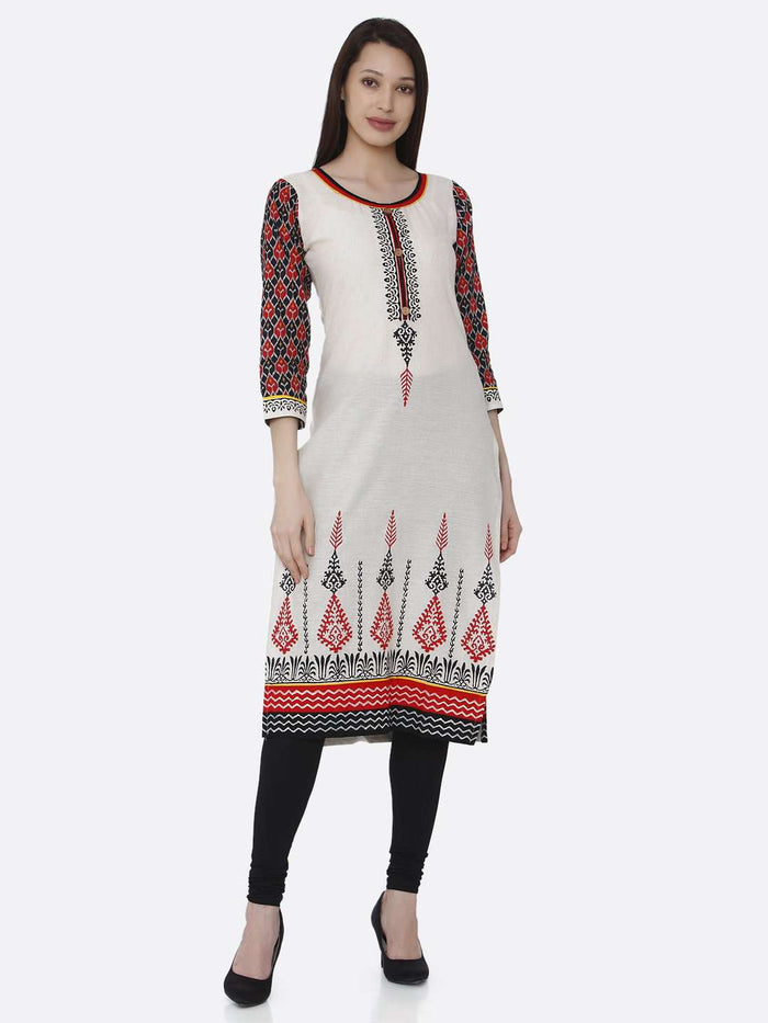 Front Side Off-white Printed Rayon Kurti