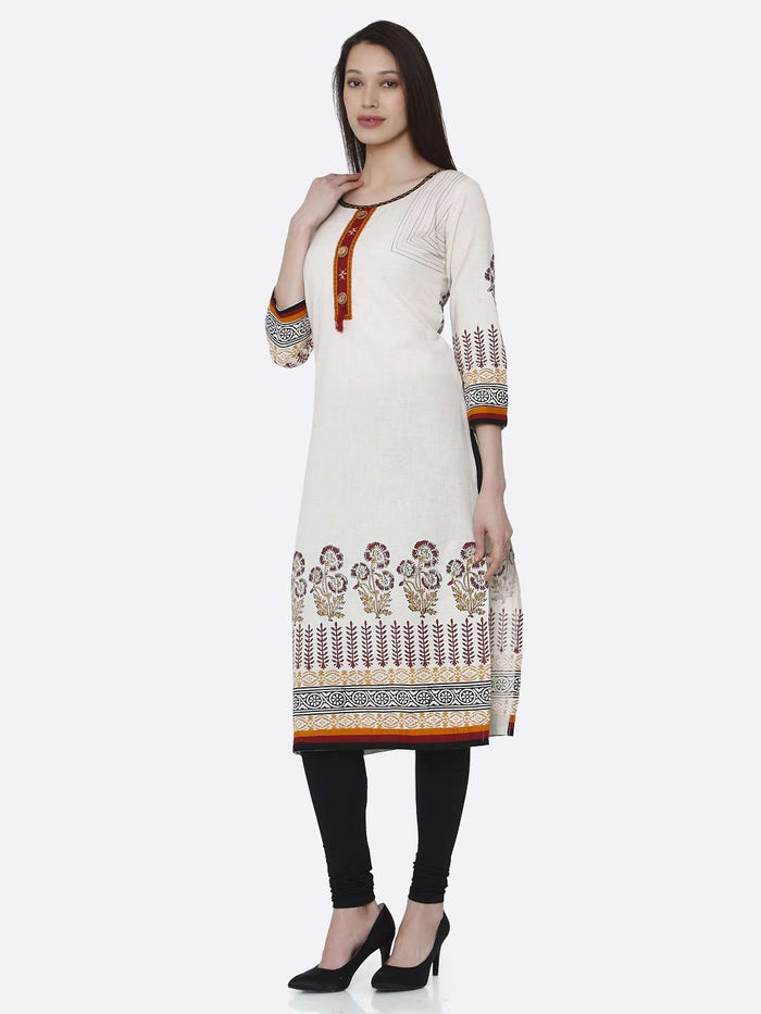 Left Side Off-white Printed Rayon Kurti With Black Palazzo Pant
