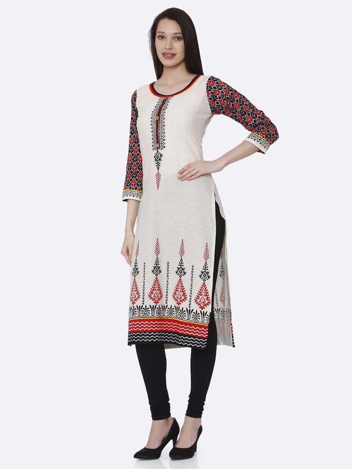 Left Side Printed Rayon Kurti With Off-White Color