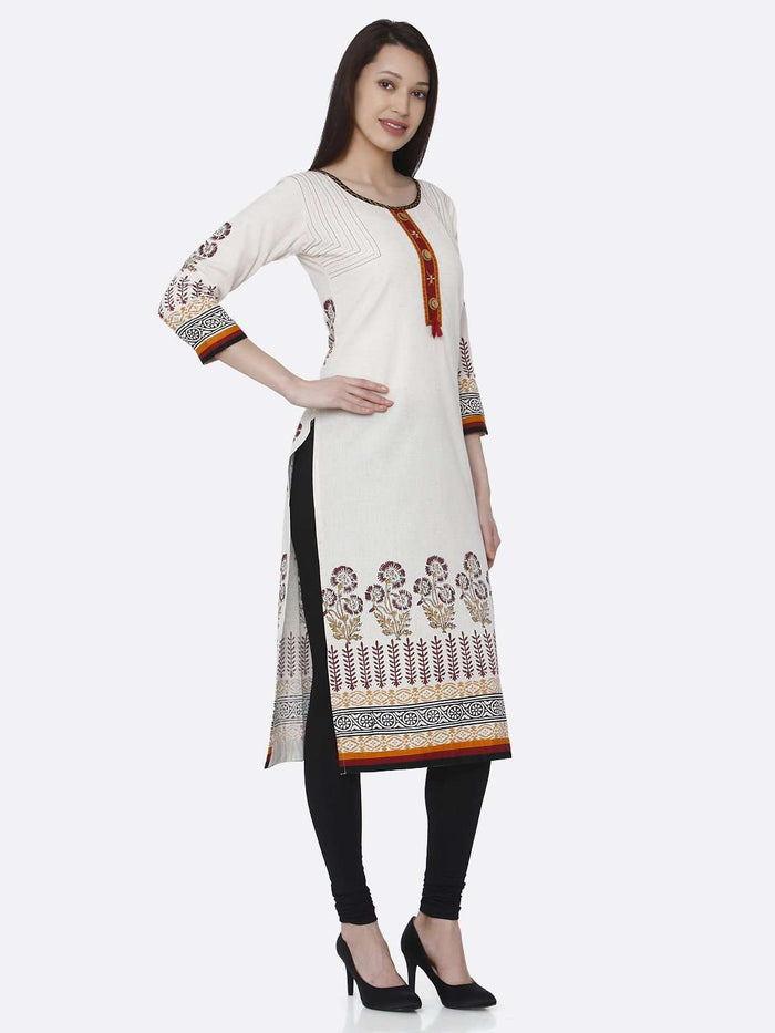 Right Side Off-white Printed Rayon Kurti With Black Palazzo Pant