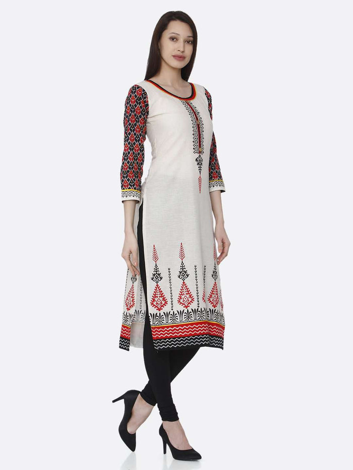 Right Side Printed Rayon Kurti With Off-White Color