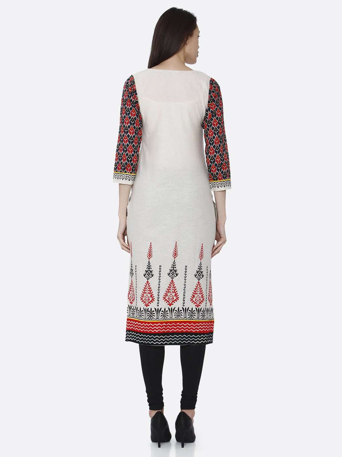 Back Side Printed Rayon Kurti With Off-White Color