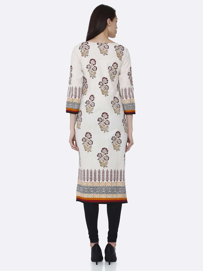 Back Side Off-white Printed Rayon Kurti With Palazzo Pant