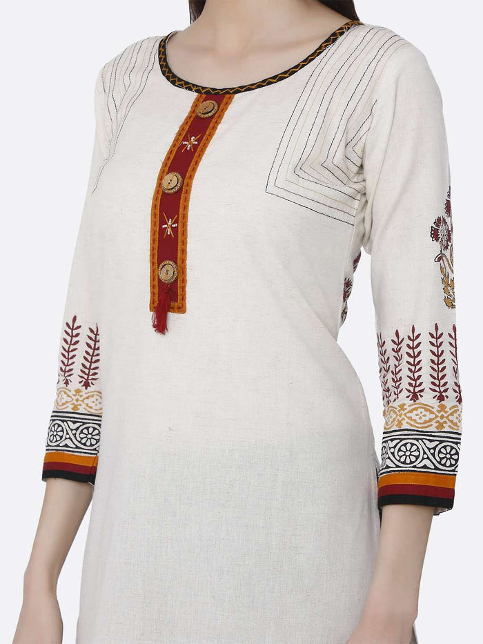 Left Side Off-white Printed Rayon Kurti
