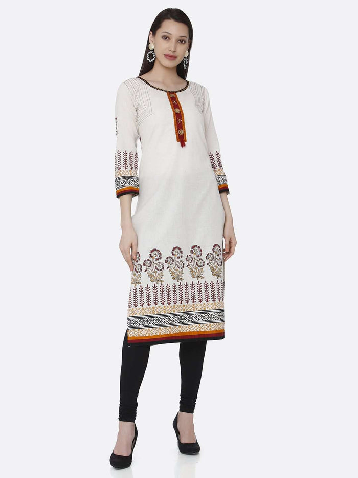 Casual Off-white Printed Rayon Kurti With Black Palazzo Pant