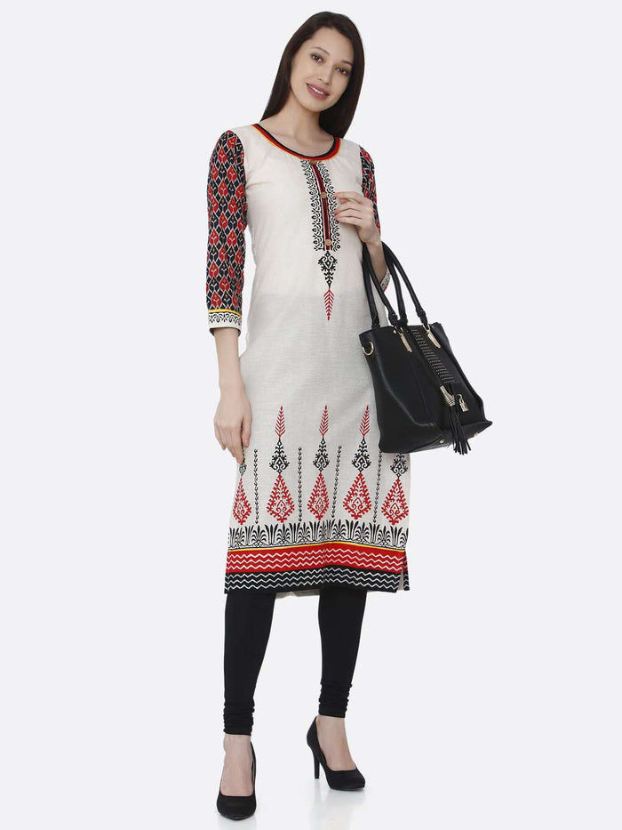Casual Printed Rayon Kurti With Off-white Color