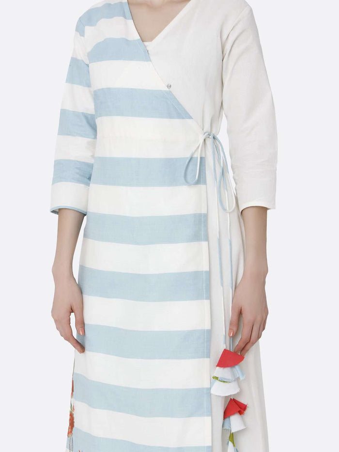 White & Light Blue Cotton Long Wrap Dress