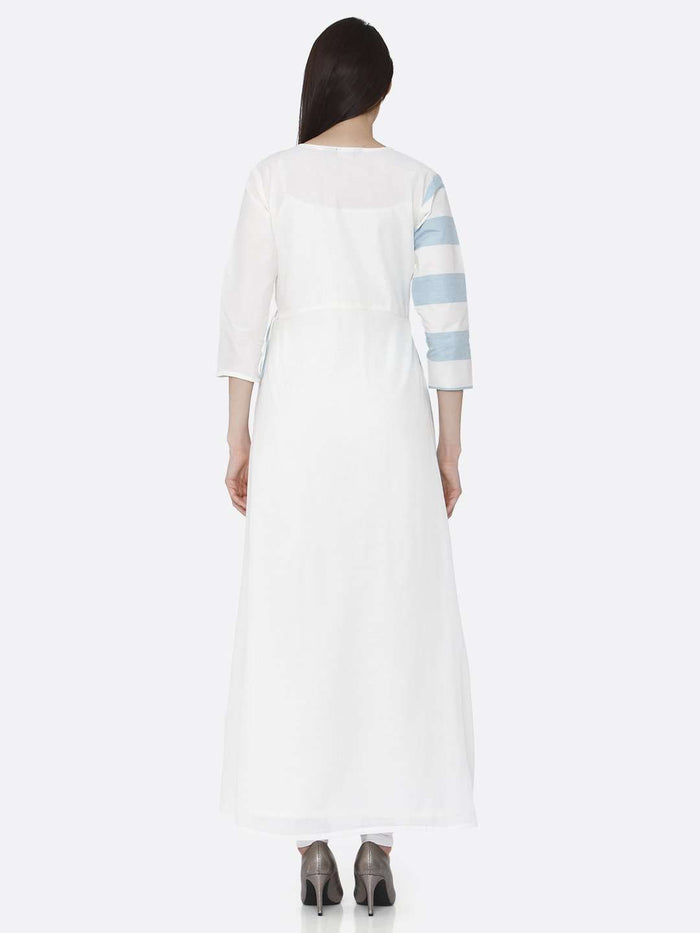 Back Side White & Light Blue Cotton Long Wrap Dress