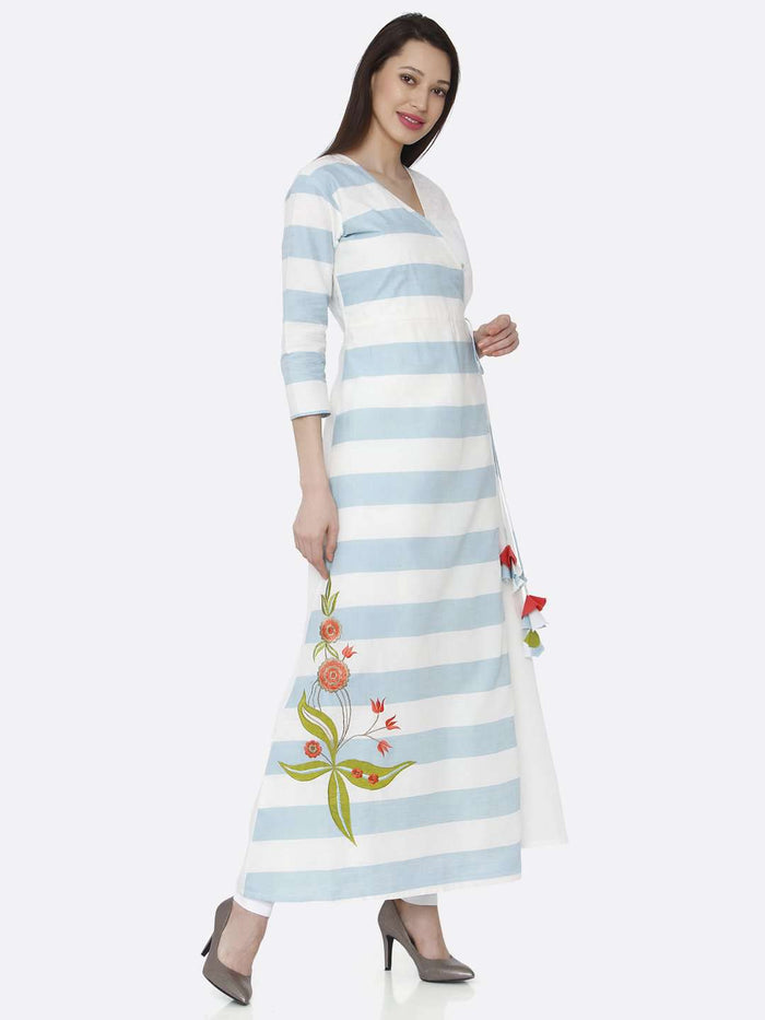 Right Side White & Light Blue Cotton Long Wrap Dress