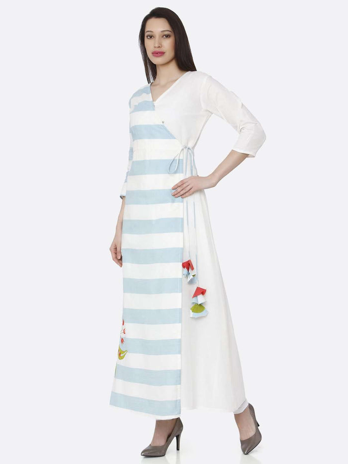 Left Side Cotton Long Wrap Dress With White & Light Blue Color