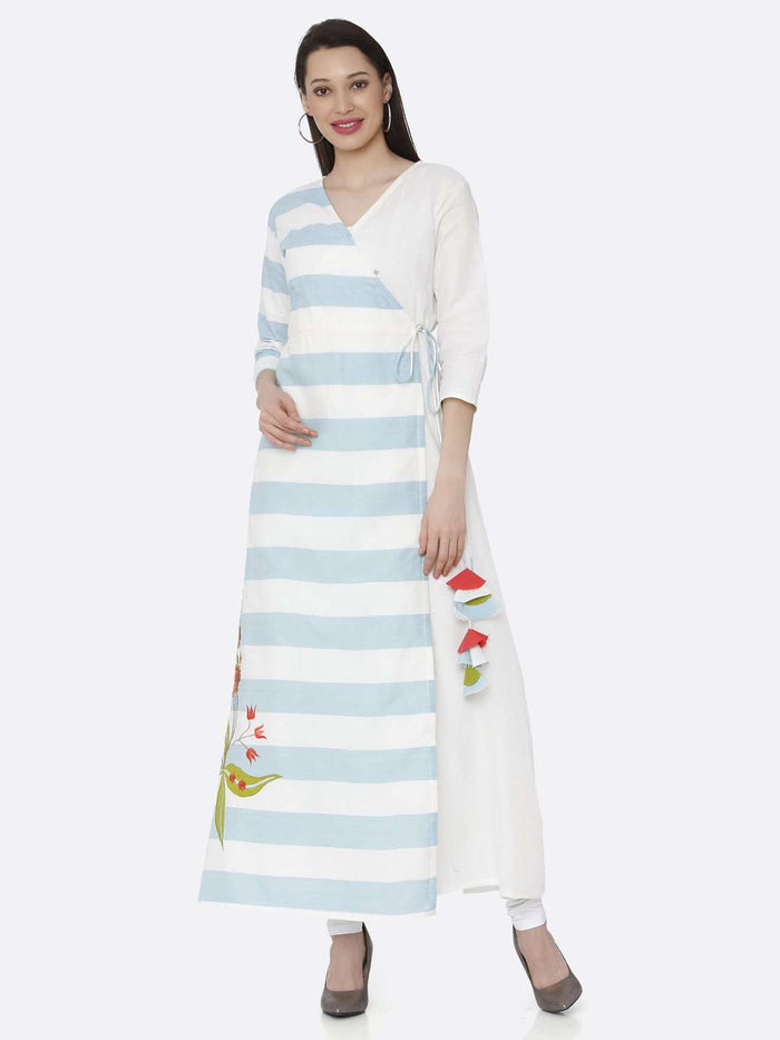Left Side White & Light Blue Cotton Long Wrap Dress