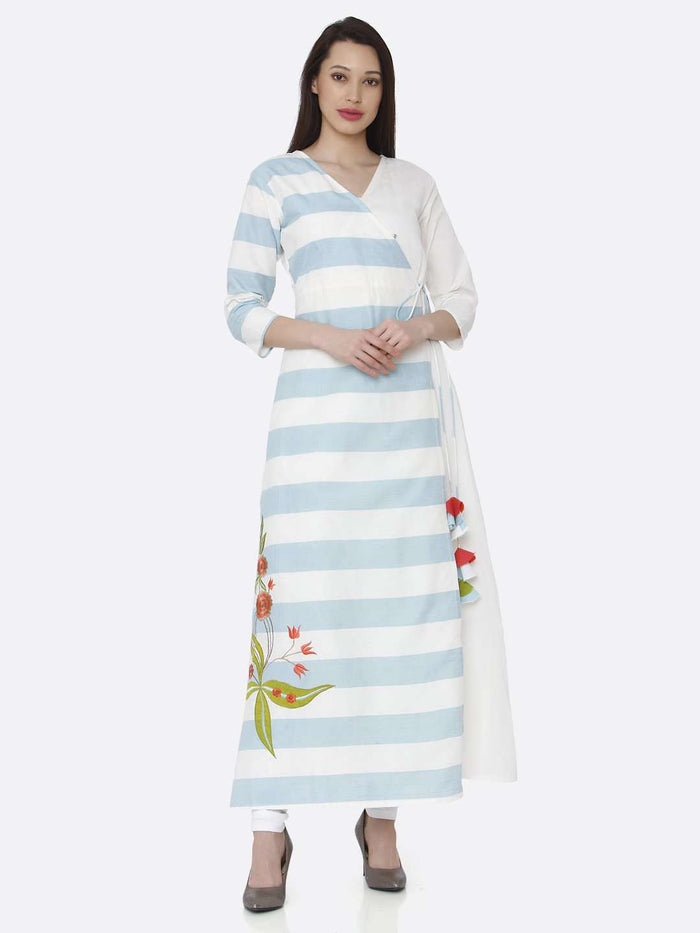 Casual Wear White & Light Blue Cotton Long Wrap Dress