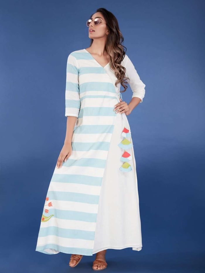 Front Side White & Light Blue Cotton Long Wrap Dress