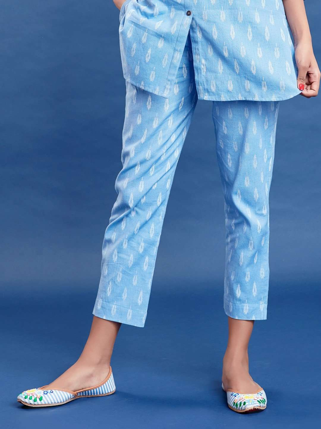 Blue Ikkat Printed Cotton Trouser