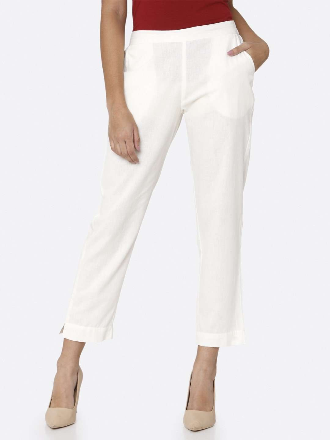 White Plain Cotton Trouser