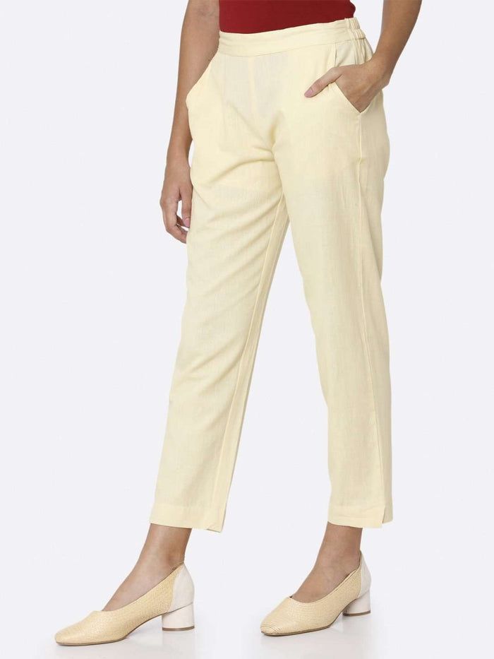 Left Side Plain Cotton Trouser With Cream Color