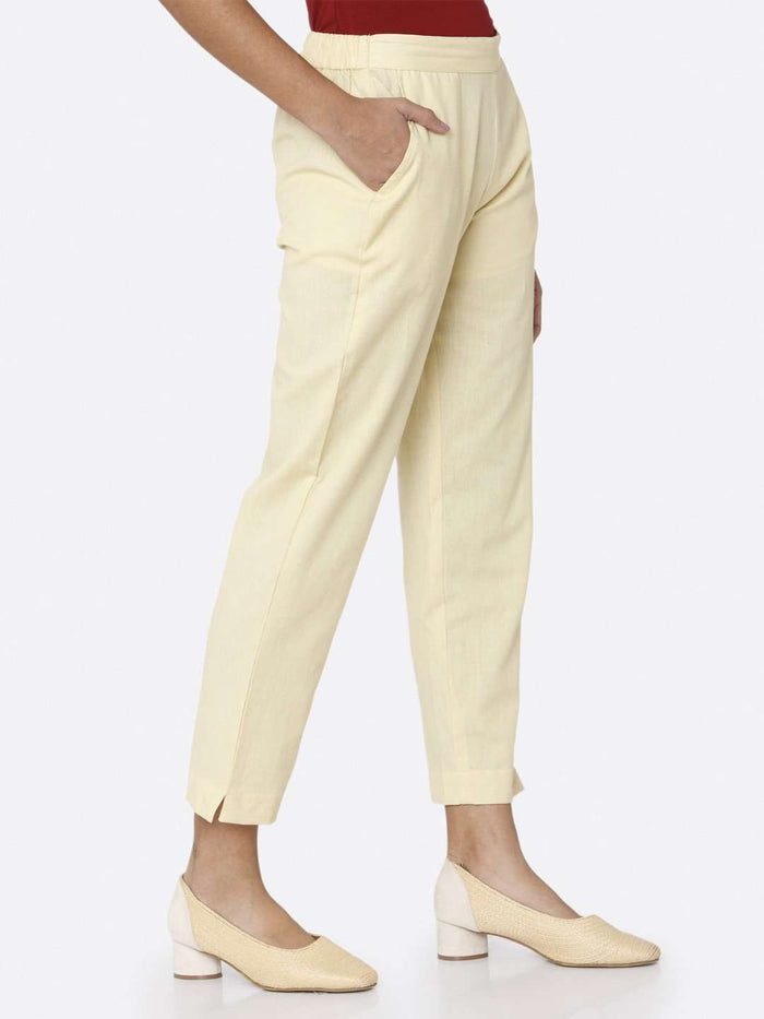 Right Side Plain Cotton Trouser With Cream Color