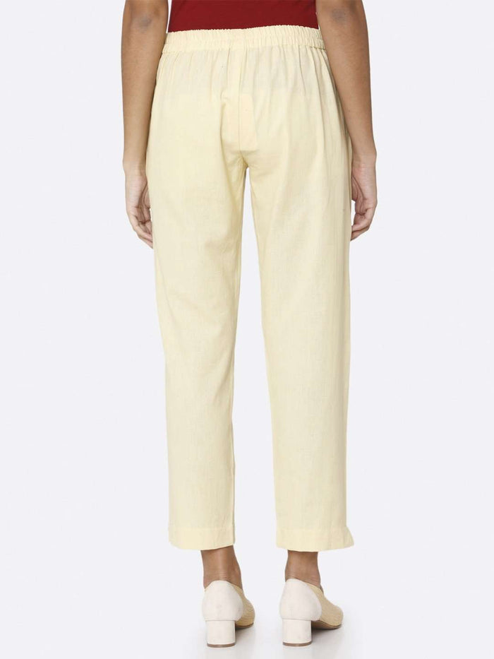 Back Side Plain Cotton Trouser With Cream Color