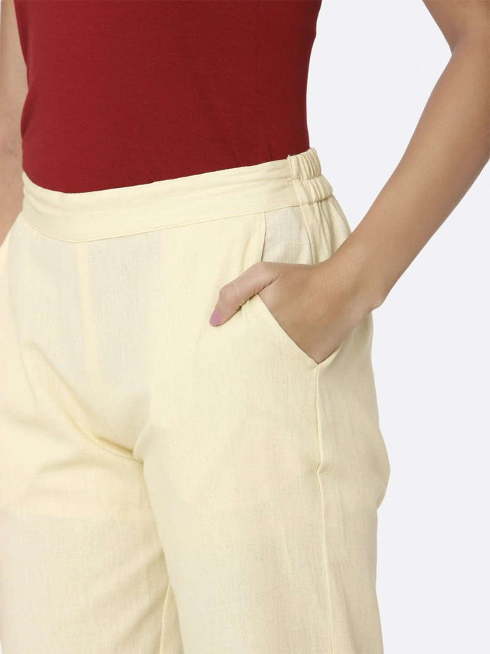 Left Side Cream Plain Cotton Trouser