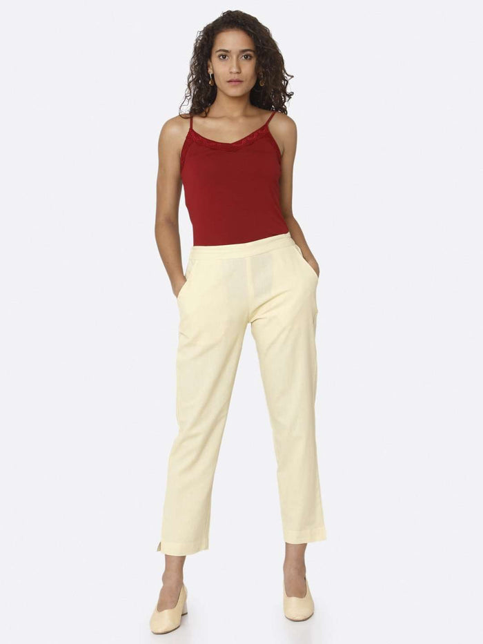 Front Side Cream Plain Cotton Trouser With Purple Color