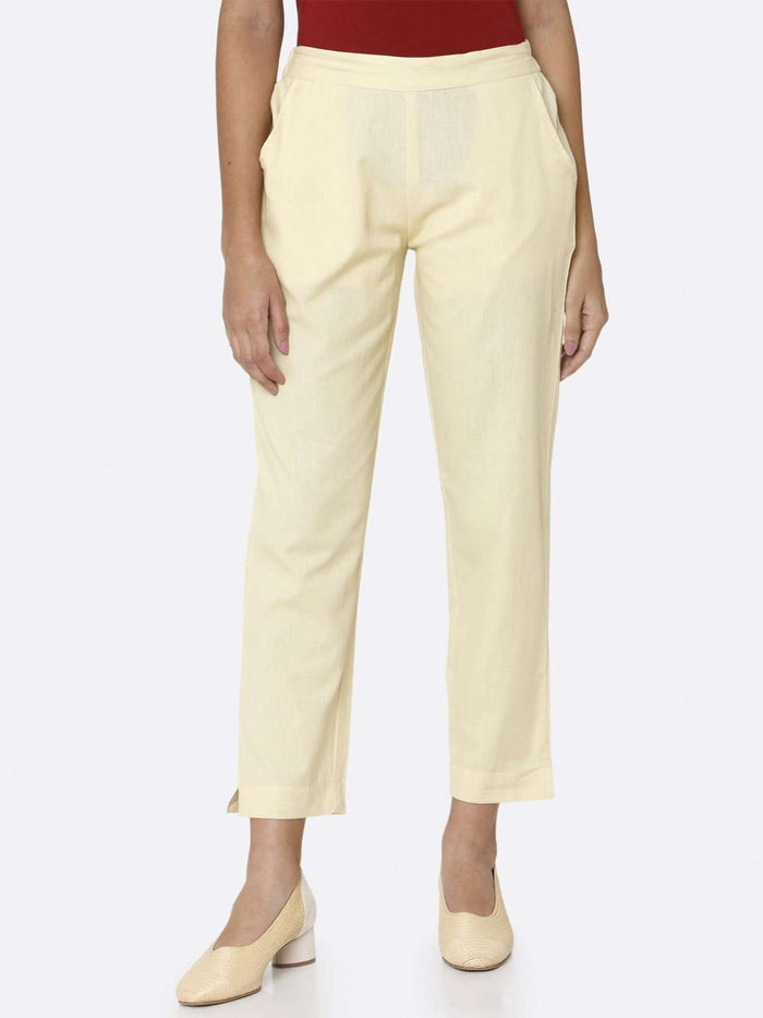 Cream Plain Cotton Trouser