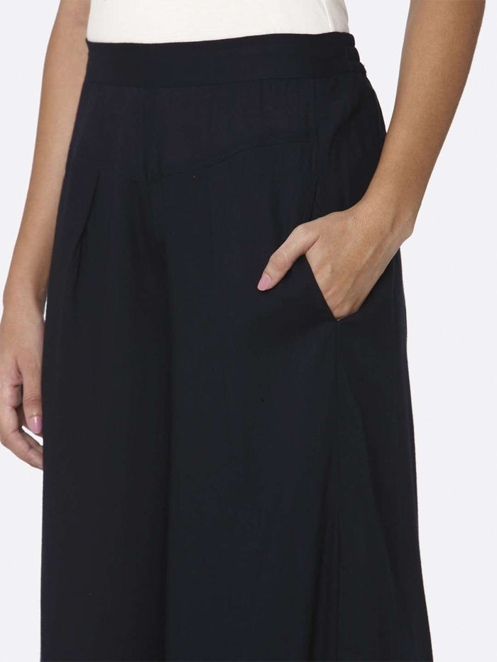 Left Side Navy Blue Plain Rayon Palazzo