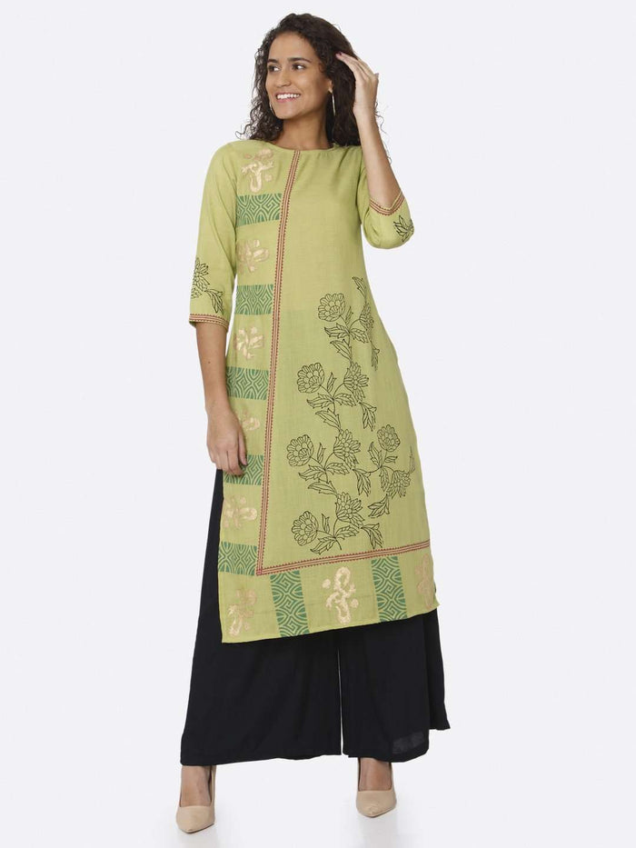 Full Front Side Navy Blue Plain Rayon Palazzo With Green Kurti