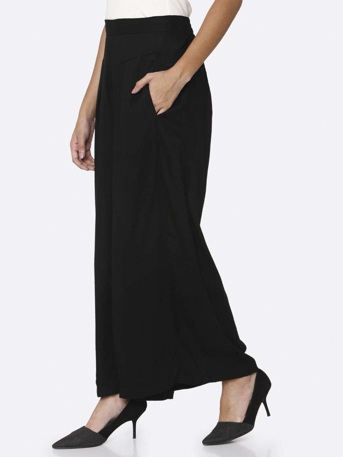 Left Side Plain Rayon Palazzo With Black Color