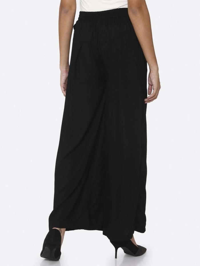 Back Side Plain Rayon Palazzo With Black Color