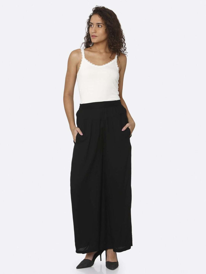 Front Side Black Plain Rayon Palazzo With Top