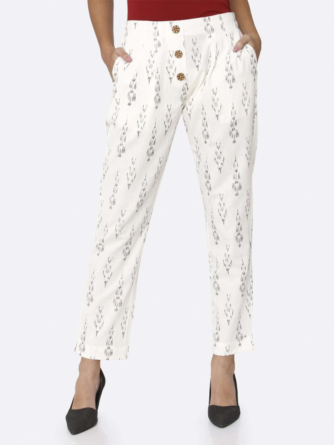White Ikkat Printed Cotton Trouser