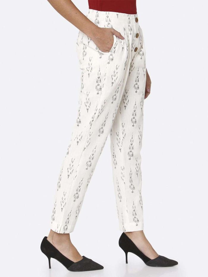Right Side Ankle Length White Ikkat Printed Cotton Trouser