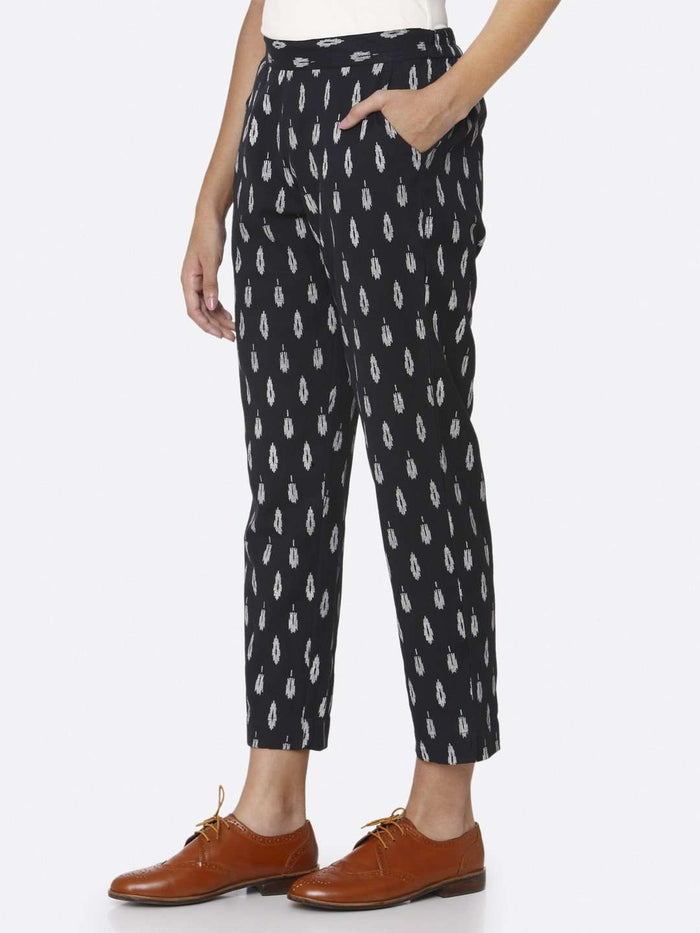 Left Side Casual Ankle Navy Blue Ikkat Printed Cotton Trouser