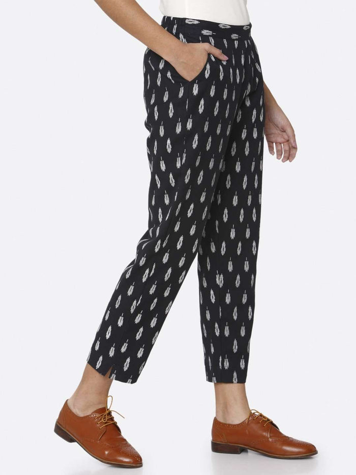 Right Side Navy Blue Ikkat Printed Cotton Trouser
