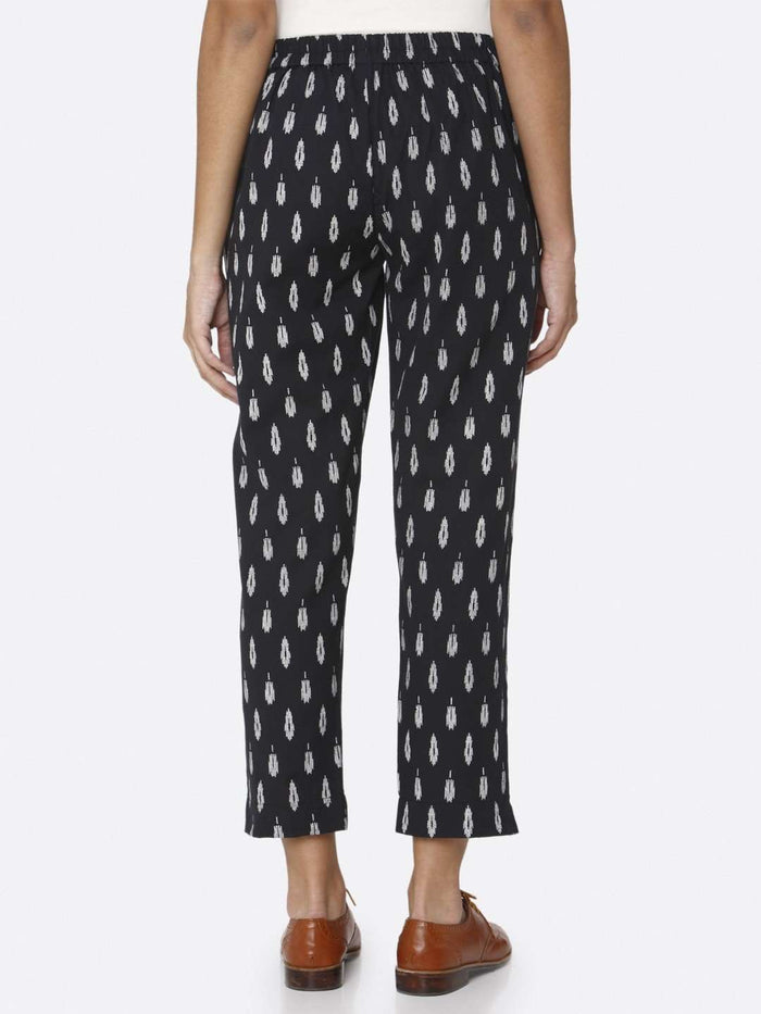 Back Side Casual Ankle Navy Blue Ikkat Printed Cotton Trouser