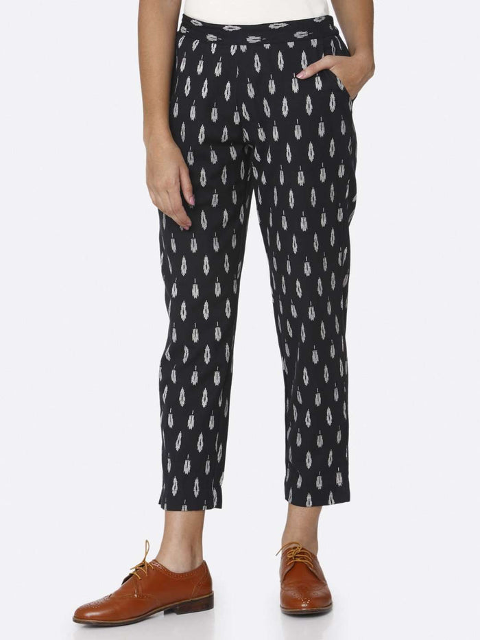 Navy Blue Ikkat Printed Cotton Trouser
