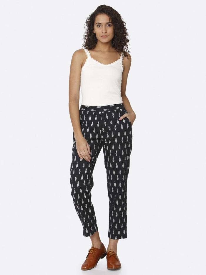 Front Side Casual Ankle Navy Blue Ikkat Printed Cotton Trouser