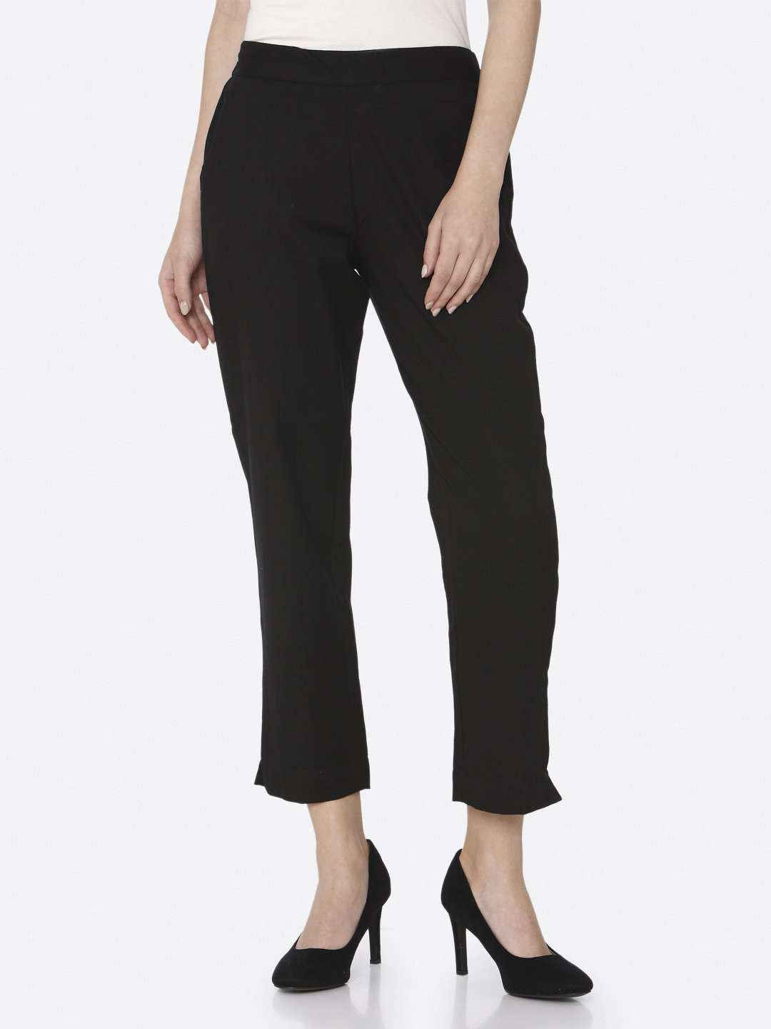 Black Plain Cotton Straight Pant