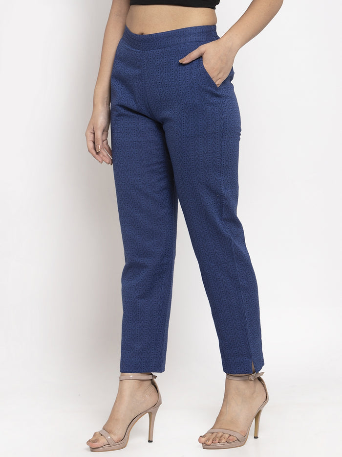 Blue Printed Weaving Cotton Straight Pant
