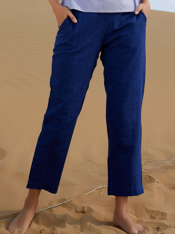 Front Side Blue Printed Weaving Cotton Straight Pant
