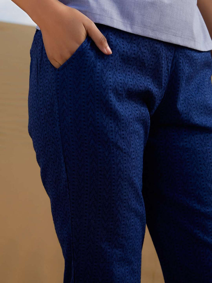Right Side Blue Printed Weaving Cotton Straight Pant