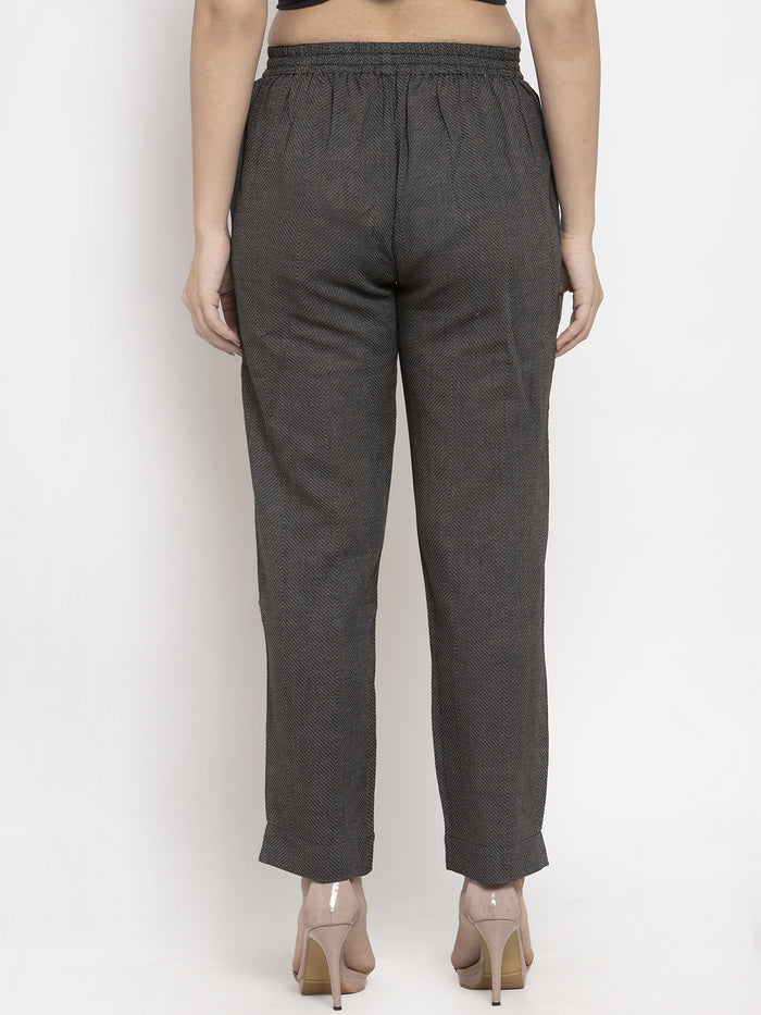 Grey Printed Weaving Cotton Straight Pant