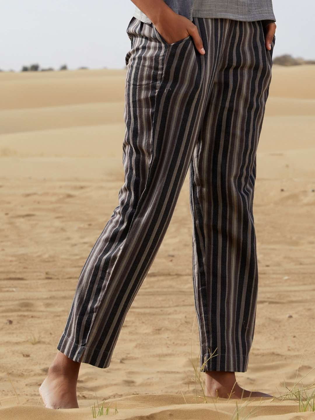 Front Of Dark Grey Printed Weaving Cotton Straight Pant