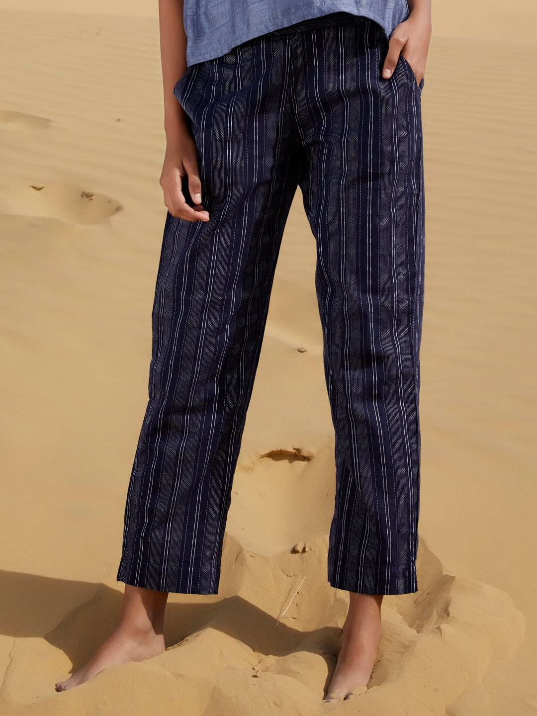 Front Side Navy Blue Printed Weaving Cotton Straight Pant